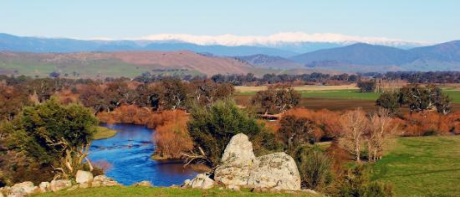 tumbarumba ranges - a rivee going inbetween two green lands looked over by the sowy mountains